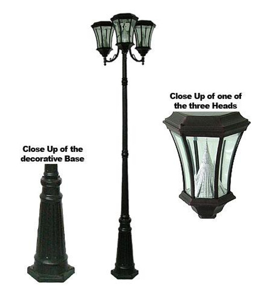 Victorian Solar Triple Head Lamp Post PWGS94T-BK (shown in black)