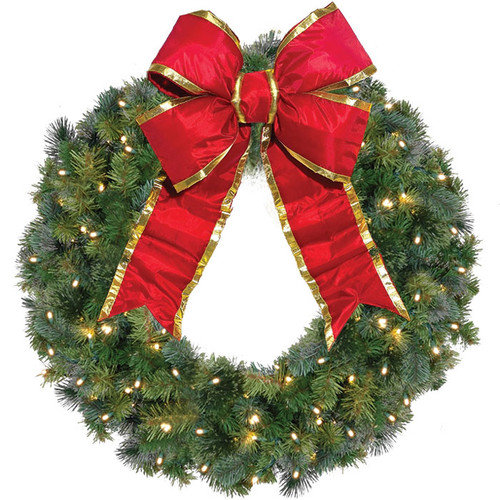 "36"" Classic LED Christmas Wreath with Red Holiday Bow"