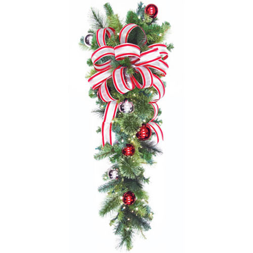 "54"" Red & Silver LED Column Drop with Candy Cane Bow"