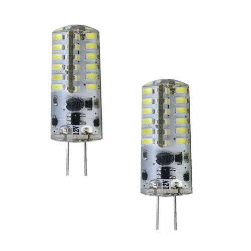 12V 2W COOL WHITE LED CRYSTAL JC BI PIN LIGHT BULB 2x