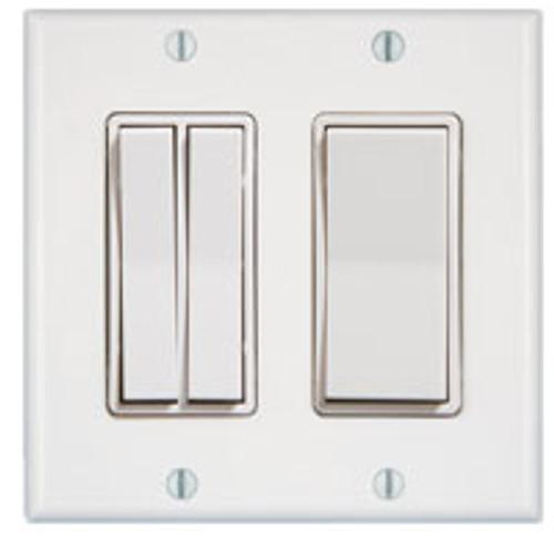 2 Gang 3 Rocker Wireless Light Switch (shown in white)