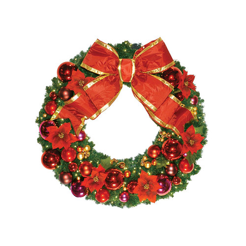 8' Red Poinsettia Holiday Designer Wreath