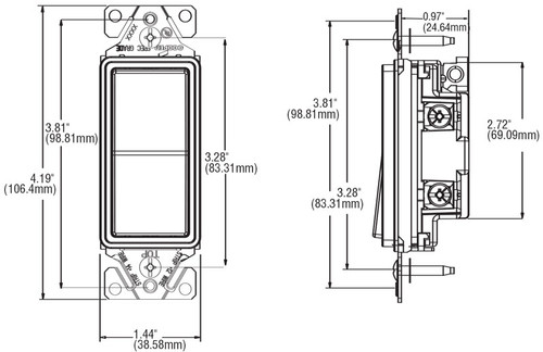single pole decorator wall switch 7501 by cooper wiring devices single pole decorator wall switch 7501 features diagram dimensions diagram