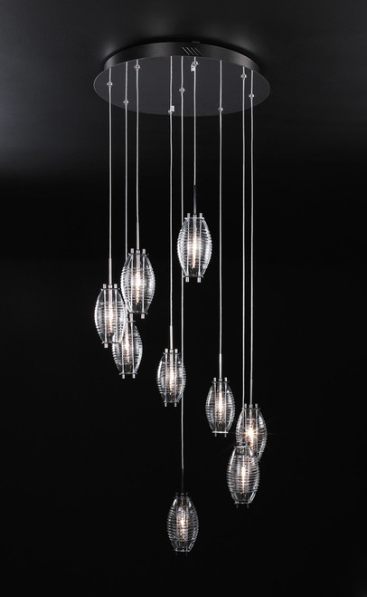 120V 9 Light Designer Polished Chrome Hanging Chandelier - Wrap