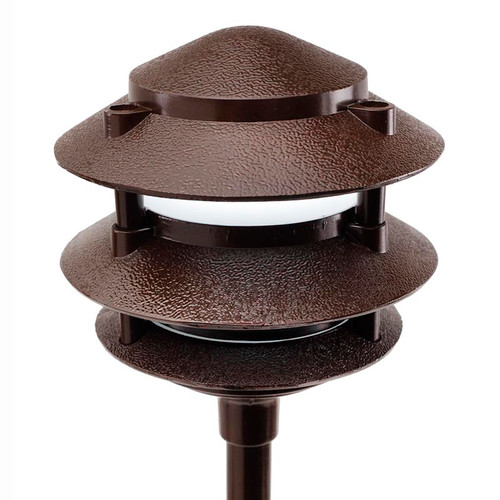 Bulbrite 35w Frosted Dimmable Mr16 Halogen Medium Base: Cast Aluminum 3 Tier Pagoda Pathway Area Light (PAT3R) By AQL