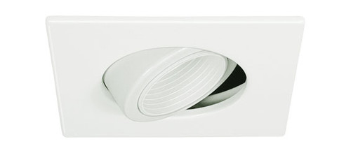 "White 12V 4"" MR16  Adjustable Pinhole w/ Baffle Square Trim C1489"