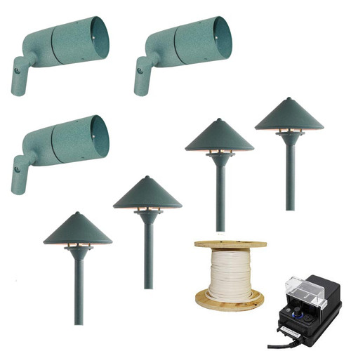 LED 3 Side-Arm Spotlight & 4 Pathway Light Landscape Light Kit In Verde - 613/311