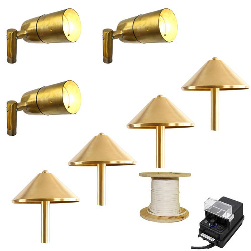 LED 3 Side-Arm Spotlight & 4 Pathway Light Landscape Kit In Raw Brass - 613/Pash311