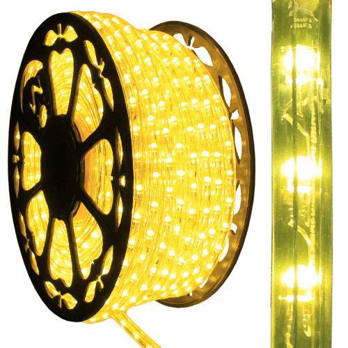 120v dimmable led yellow rope light 150ft 513pro series ak led. Black Bedroom Furniture Sets. Home Design Ideas