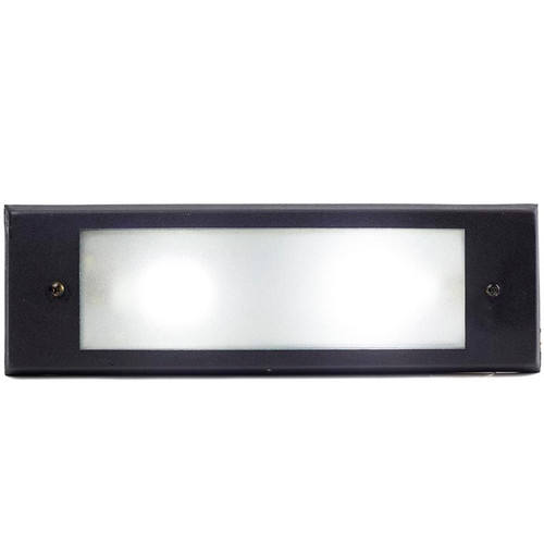 Solid Brass Open Cover Step Light PRGB-HL-DV in Black (shown with cool white bulb)