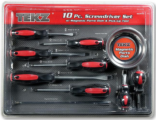10 Piece Screwdriver Set with Magnetic Dish and Pickup Tool