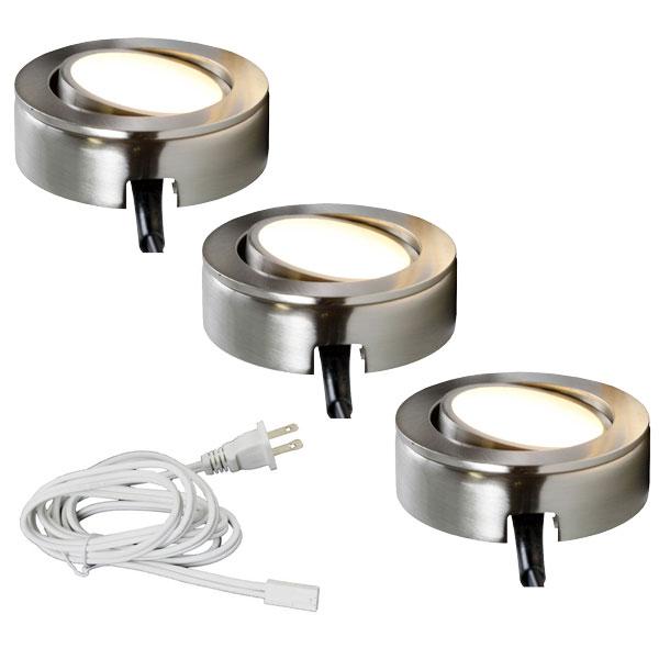 3 LED Puck Light System in Satin Nickel