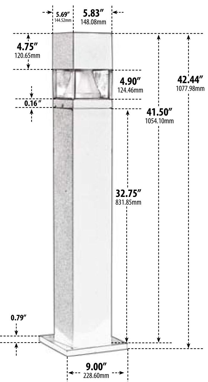 Wiring Diagram For Bollard Lights : V quot area square fiberglass bollard d by dabmar
