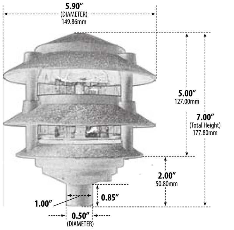 Landscape Lighting Diagram: 120V Cast Aluminum 3 Tier Pagoda Pathway Area Light (D5000