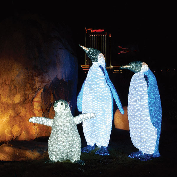 Led Mommy Penguin Acrylic Sculpture Mamapenguin By Aql