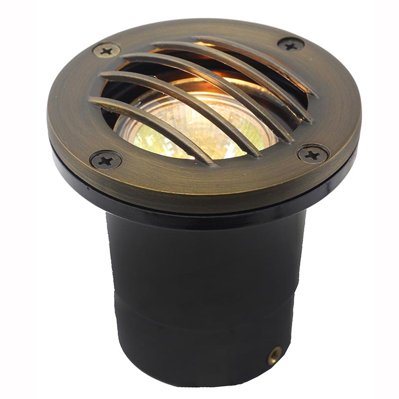Led in ground well light w curved brass grill ledgc3b cg for In ground landscape lighting fixtures