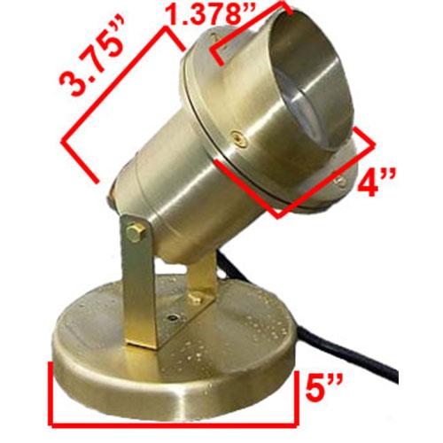12v Led Brass Underwater Spotlight W Angle Shield