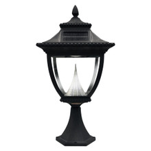 Pagoda Solar Pilaster Lantern GS-104P (shown in black)
