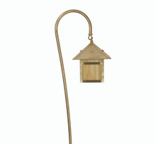 PL-09 Lantern with Gooseneck Stanchion in brass with brass gooseneck