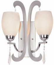 1082PC Double Crystal Wall Sconce in polished chrome and frosted glass