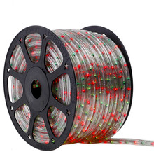 120V 3 Wire Incandescent Bi-Color Green & Red Chasing Rope Light - 150 Ft