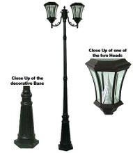 Victorian Solar Two Head LED Lamp Post PWGS94-DBK (shown in black)