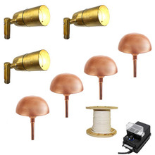 LED 3 Side-Arm Spotlight & 4 Pathway Light Landscape Kit In Copper and Raw Brass - 613/308
