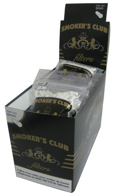 SMOKER'S CLUB FILTER TIPS 6mm. 150 Filter Tips per Bag 34 Bags per Box This Product is Sold in a Box of 34 Bags.