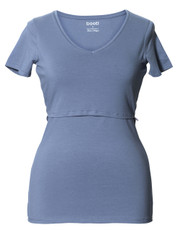 Boob Nursing Top V-Neck steel blue