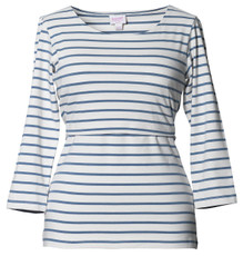 Boob Top Simone 3/4 sleeve stripe wht/steel