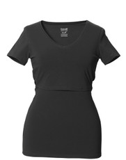 Boob Maternity Top / Nursing Top V-Neck - Black