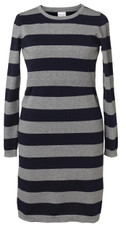 Boob Knitted Maternity/Nursing Dress - Striped Greymelange/Ink Blue