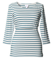 Boob Top Simone 3/4 sleeve stripe green pool