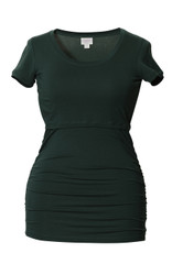 Boob Short Sleeve Maternity/Nursing Top Ruched - teal