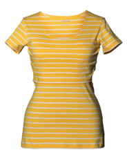 Boob Nursing Top Simone short sleeve stripe yellow/off-white