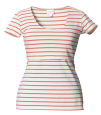 Boob Nursing Top Simone short sleeve stripe off-white/melon