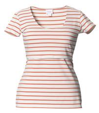 Boob Nursing Top Simone short sleeve stripe off-white/melon
