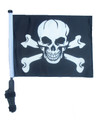 PIRATE SKULL & CROSS BONES Golf Cart Flag with Pole