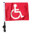 RED HANDICAP Golf Cart Flag with SSP Flags Pole