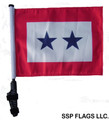 TWO STAR BLUE STAR Golf Cart Flag with Pole