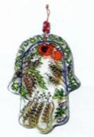 Wall Hanging Hand Painted Glass Hamsa