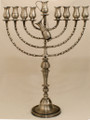 "Pitchers 25"" Pewter Menorah (M-225-P)"