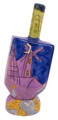 Ceramic Karshi Dreidel + Stand  - Jerusalem (DR-5941)