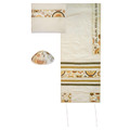 "Yair emanuel Embroidered Raw Silk Tallit – David Star Rainbow -  Gold 16"" X 70""  TAB-3G"