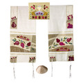 Yair emanuel Embroidered Raw Silk Tallit - Pomegranates in gold TFA-4