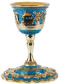 Jeweled Goblet Kiddush Cup Turquoise with Sapphire Crystals
