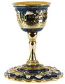 Jeweled Goblet kiddush cup blue with Sapphire crystals