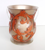 Acrylic Washing Cup Gold and Orange Glitter (WC-AVI569C)