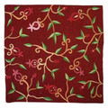 Maroon Branches Embroidered Pillow Cover
