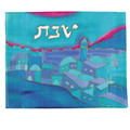 Silk Painted Challa Cover - vista turquoise